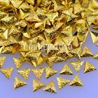 500PCS frosted triangle gold silver metal 3d nail art decorations studs tools SJ