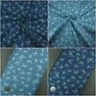 3.8oz 100% Cotton Pure Denim Fabric, Butterfly Print Blue Navy Sold per metre