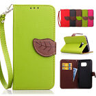 Luxury Leaf Flip Leather Wallet Card Holder Stand Case Cover For Samsung Galaxy
