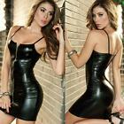 Womens Wet Look Bandage Bodycon Dress Night Clubwear Cocktail Party Mini Dresses