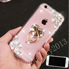 Bling Diamond Flower Rhinestones Cute Crystal Ring Stand Clear Case Cover Skin