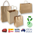 50 x KRAFT Brown Paper Carry Bags - with Handle / Shopping Bags / Gift Bags
