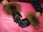 Black or Tan Leather Gloves with Gorgeous Real Raccoon Fur Trim