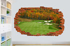 GOLF COURSE IN FOREST FAIRWAY SMASHED WALL STICKER ROOM DECORATION DECAL MURAL
