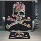 Print Home Bathroom Skull Rug Shower Curtain Waterproof Carpet Polyester Gift