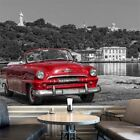 car pictures wallpaper - Vintage Red Car Wall Mural Black & White Photo Wallpaper Cuba Home Decor