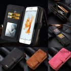 Removable Flip Leather Zipper Wallet Cards Case Cover Pouch For Samsung iPhone