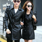 Women Men Casual PU Leather Coat Couples Lovers Motorcycle Jackets Parka Outwear