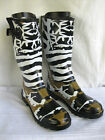 LADIES BROWN/BLACK CAMOUFLAGE/ ANIMAIL PRINT FESTIVALWELLINGTON BOOTS X1106 3-8