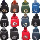 New Era NFL Logo Crisp Cuff Cuffed Pom Knit Beanie Hat Cap One Size Team Colors $15.0 USD on eBay