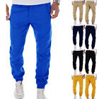 Mens Skinny TRACK PANTS Slim Cuff Trousers Slacks Sport Tracksuit Jogger Long