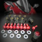 M5 x 32 Windscreen Bolt CNC 7075 Screw+10mm ABS Well Nut+Washer Mounting Kit Red