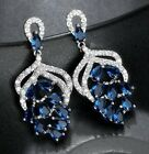 BOXED White Gold Plate Crystal CZ DROP EARRINGS Emerald Green, Sapphire Blue UK