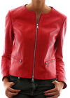 Women Scuba Style Red Leather Jacket With Two Pockets Sz XS-3XL