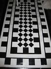 Hand-Painted Black and White Checkered Floorcloth 2'x3', 3'x4', 3'x5', 4'x6'