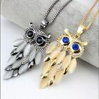 Woman's Opals Rhinestone Owl Long Pendant Necklaces  Sweaters Chain Alloy