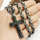 Mens Boys Chain Cross Jesus Byzantine Stainless Steel Pendant Necklace 18-36INCH