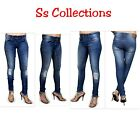 WOMENS RIPPED JEANS KNEE CUT SKINNY FIT STRETCHY LADIES SIZES 6/8/10/12/14/16
