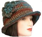 CROCHET LADIES CLOCHE HAT festival hippy winter cowl scarf gloves set teal brown