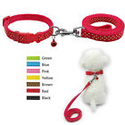11-17'' Nylon Polka Dot Dog Collar and Leash Set with Bell Cute for Puppy Yorkie