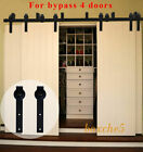 CCJH 8-20FT Bypass Rustic Sliding Barn Wood Door Hardware Closet Kit for 4 Doors