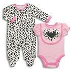 NEW Bon Bebe baby girl clothes 3 piece set bib sleeper bodysuit 0-3 3-6 6-9 mths