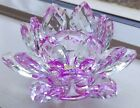 Faux Crystal Lotus Flower Figurine Multifaceted Table Decoration or Gift