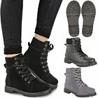 Ladies Womens Ankle Boots Lace Up Military Combat Worker Celeb Army Shoes Size