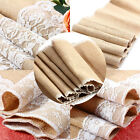 2.75m/2.45m Natural Burlap Hessian Lace Table Runner Vintage Wedding/Party Hot