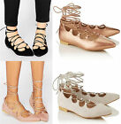 Womens Ballerina Flats Lace Up Ballet Shoes Slippers Ghillie Tie Pumps Gladiator