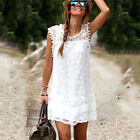 Women Lace Cotton Sleeveless Summer Beach Mini Dress Loose Casual Ladies Party