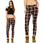 Red Black Slim Mid Rise Tartan Trousers Skinny Stretch Check Plaid Jeans Pants