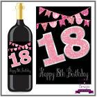 Birthday Bottle Label Wine or Spirit Pink Sparkle on Black