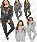 New Ladies Applique Rose Flower Embroidered Lounge Suit Fine Knit Marl Tracksuit