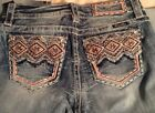 MISS ME MP7304T Sz 27+28  Aztec Color Embroidered Skinny Jeans New Tags b79t