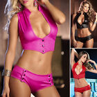 Fashion Sexy Women Lingerie Bra G-String Set High Elastic Leather Nightwear SUIT