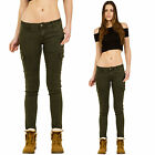 New Womens Slim Skinny Stretch Dark Green Low Rise Cargo Pants Combat Trousers