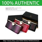 [OMNIA]Crystal Ladies Clutch Leopard Genuine Leather Purse Long Wallet Trifo334L image