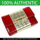 [OMNIA]Crystal Ladies Wallet Genuine Leather Trifold Purse ID Card Coins Bag-Red image