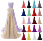 Sweetheart Long Chiffon Bridesmaid Prom Dress Formal Wedding Evening Party Dress
