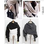 New Korean Style Autumn Winter Unisex Knitted Scarf Cape Shawl With Sleeves