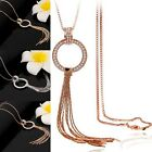 Womens Gold Plated Circle Tassel Pendant Rhinestone Long Chain Sweater Necklace