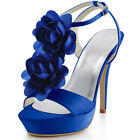 EP2068-PF Slingback High Heel Platform Sandals Flowers Buckle Bridal Party Shoes