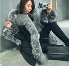 korean Women real fox fur collar duck down hooded parka thick coat Jacket winter