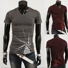 Korean New Stretchy Fitted Short Sleeve V-neck Men's T-shirt Tees  Summer Tops