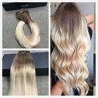 Ombre Brown to Blonde Clip in Remy Hair Extensions Dip Dyed Full Head Clip in