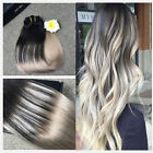 European Ombre Black to Ash Blonde Clip in Remy Hair Extensions Thick Full Head