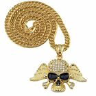 Hip Hop Fashion Gold Plated Chain Statement Skeleton Long Pendant Necklace 120g