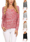 Round Neck Dolman Long Sleeve Pullover Sweater  S ~ L