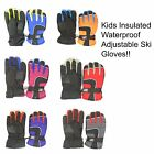 Kids Youth Insulated Waterproof Adjustable Lined Winter Snow Ski Gloves